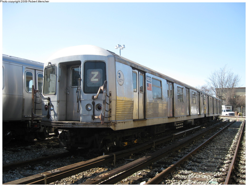 (207k, 1044x788)<br><b>Country:</b> United States<br><b>City:</b> New York<br><b>System:</b> New York City Transit<br><b>Location:</b> East New York Yard/Shops<br><b>Car:</b> R-42 (St. Louis, 1969-1970)  4823 <br><b>Photo by:</b> Robert Mencher<br><b>Date:</b> 3/23/2009<br><b>Viewed (this week/total):</b> 0 / 362