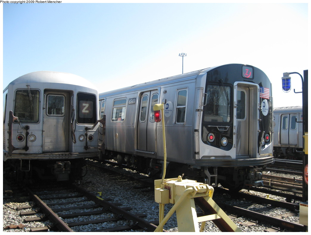(195k, 1044x788)<br><b>Country:</b> United States<br><b>City:</b> New York<br><b>System:</b> New York City Transit<br><b>Location:</b> East New York Yard/Shops<br><b>Car:</b> R-160A-1 (Alstom, 2005-2008, 4 car sets)  8569 <br><b>Photo by:</b> Robert Mencher<br><b>Date:</b> 3/23/2009<br><b>Viewed (this week/total):</b> 0 / 555