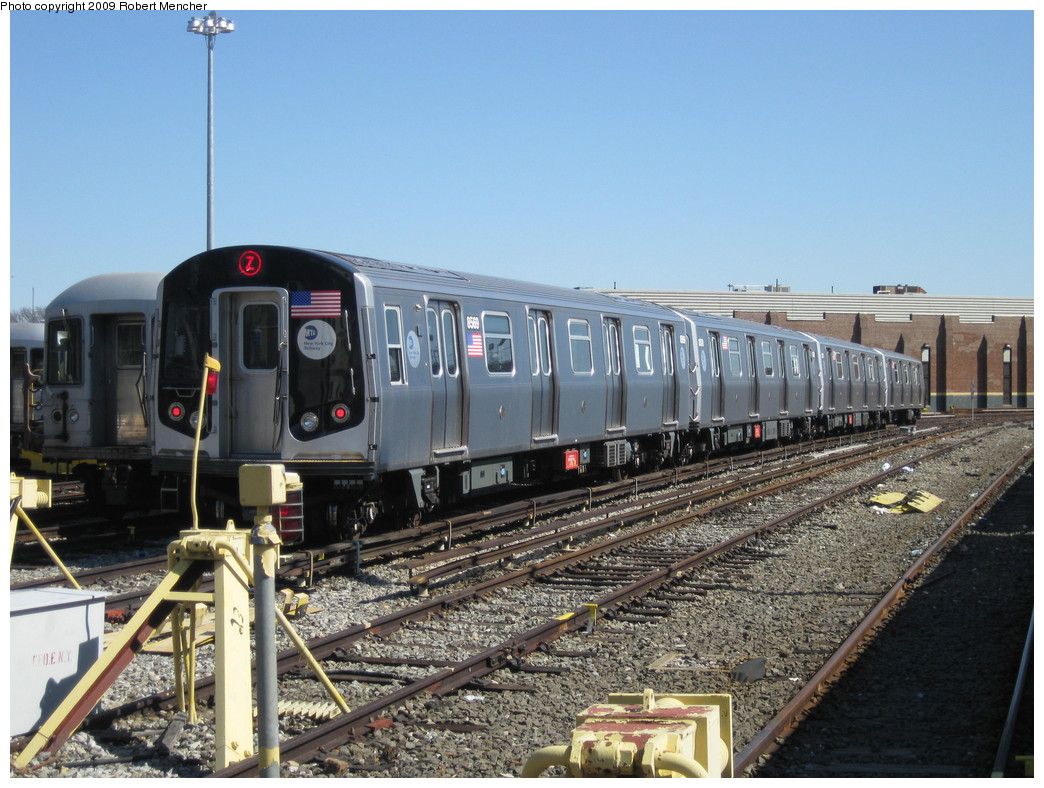 (245k, 1044x788)<br><b>Country:</b> United States<br><b>City:</b> New York<br><b>System:</b> New York City Transit<br><b>Location:</b> East New York Yard/Shops<br><b>Car:</b> R-160A-1 (Alstom, 2005-2008, 4 car sets)  8569 <br><b>Photo by:</b> Robert Mencher<br><b>Date:</b> 3/23/2009<br><b>Viewed (this week/total):</b> 0 / 895