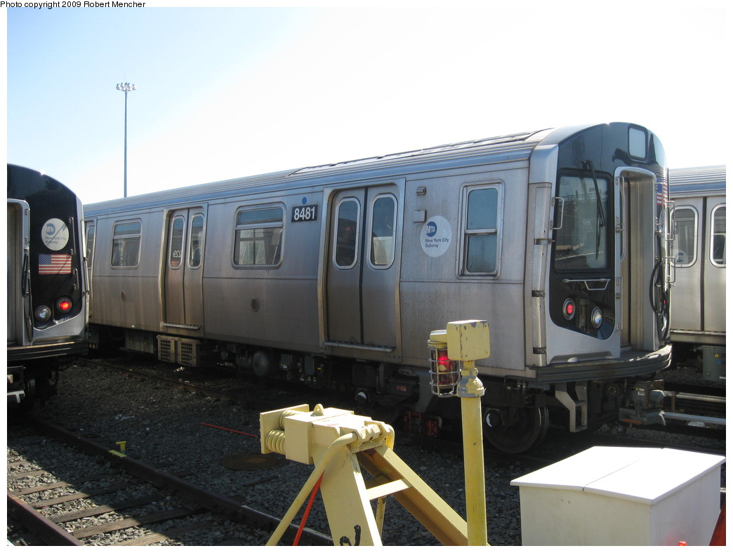 (179k, 1044x788)<br><b>Country:</b> United States<br><b>City:</b> New York<br><b>System:</b> New York City Transit<br><b>Location:</b> East New York Yard/Shops<br><b>Car:</b> R-160A-1 (Alstom, 2005-2008, 4 car sets)  8481 <br><b>Photo by:</b> Robert Mencher<br><b>Date:</b> 3/23/2009<br><b>Viewed (this week/total):</b> 1 / 364