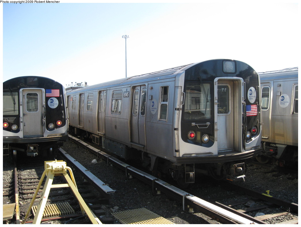 (194k, 1044x788)<br><b>Country:</b> United States<br><b>City:</b> New York<br><b>System:</b> New York City Transit<br><b>Location:</b> East New York Yard/Shops<br><b>Car:</b> R-143 (Kawasaki, 2001-2002) 8145 <br><b>Photo by:</b> Robert Mencher<br><b>Date:</b> 3/23/2009<br><b>Viewed (this week/total):</b> 0 / 344