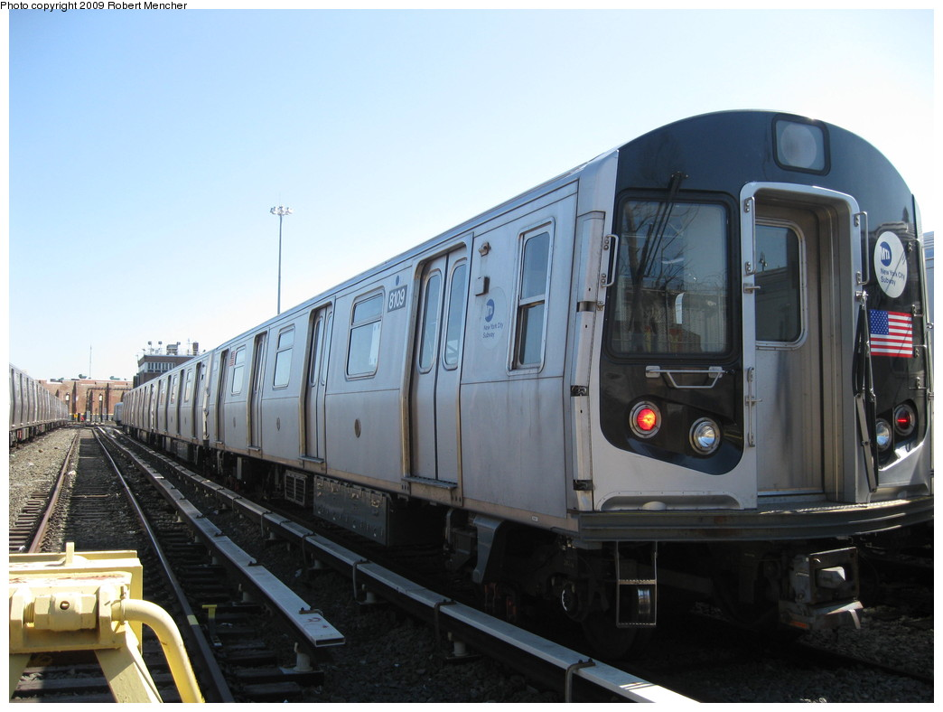 (180k, 1044x788)<br><b>Country:</b> United States<br><b>City:</b> New York<br><b>System:</b> New York City Transit<br><b>Location:</b> East New York Yard/Shops<br><b>Car:</b> R-143 (Kawasaki, 2001-2002) 8109 <br><b>Photo by:</b> Robert Mencher<br><b>Date:</b> 3/23/2009<br><b>Viewed (this week/total):</b> 1 / 373