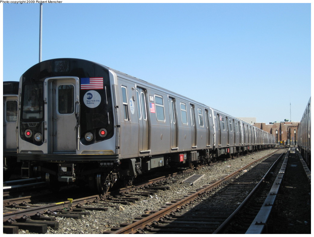 (200k, 1044x788)<br><b>Country:</b> United States<br><b>City:</b> New York<br><b>System:</b> New York City Transit<br><b>Location:</b> East New York Yard/Shops<br><b>Car:</b> R-160A-1 (Alstom, 2005-2008, 4 car sets)  8649 <br><b>Photo by:</b> Robert Mencher<br><b>Date:</b> 3/23/2009<br><b>Viewed (this week/total):</b> 0 / 352