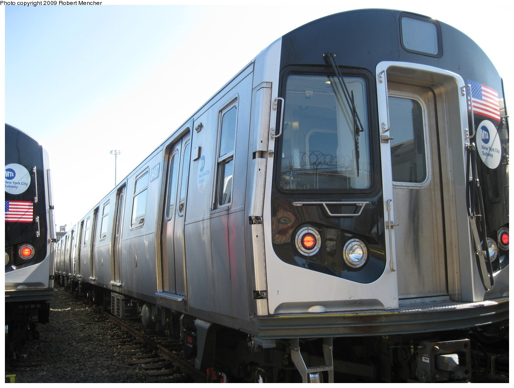 (188k, 1044x788)<br><b>Country:</b> United States<br><b>City:</b> New York<br><b>System:</b> New York City Transit<br><b>Location:</b> East New York Yard/Shops<br><b>Car:</b> R-143 (Kawasaki, 2001-2002) 8497 <br><b>Photo by:</b> Robert Mencher<br><b>Date:</b> 3/23/2009<br><b>Viewed (this week/total):</b> 0 / 535
