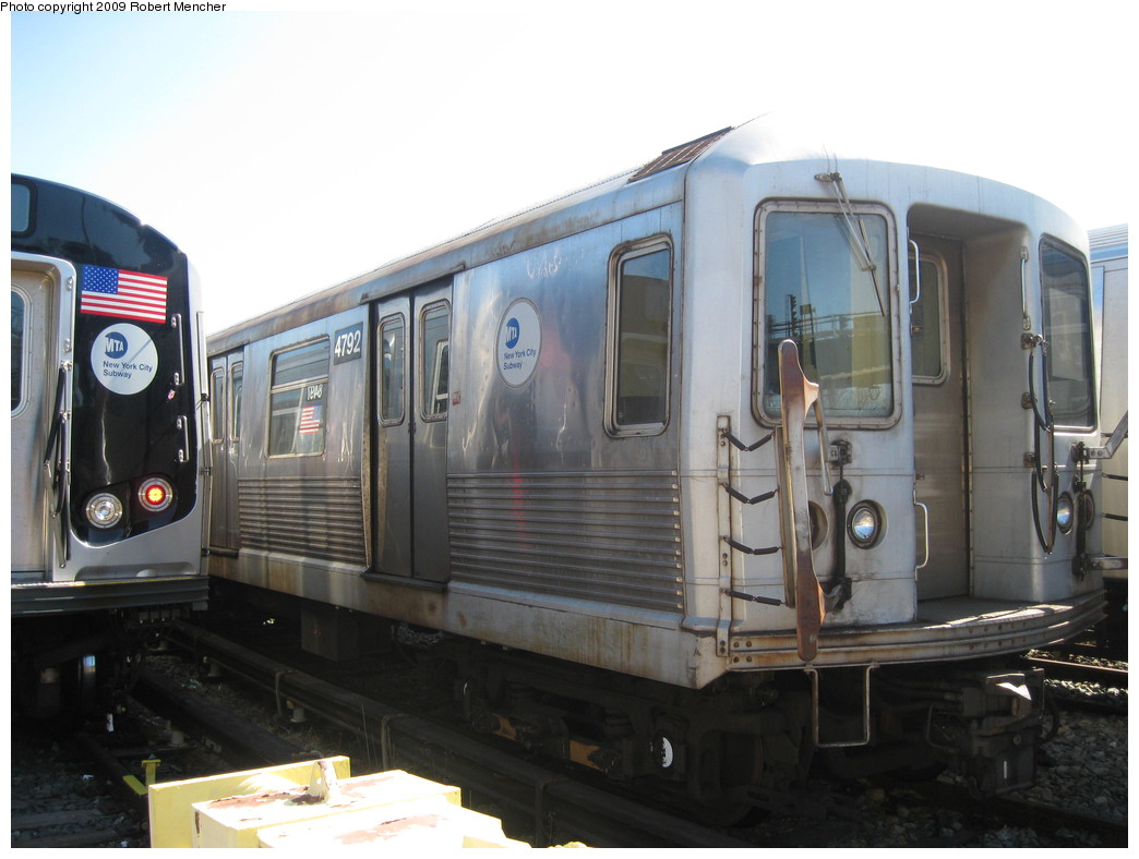 (177k, 1044x788)<br><b>Country:</b> United States<br><b>City:</b> New York<br><b>System:</b> New York City Transit<br><b>Location:</b> East New York Yard/Shops<br><b>Car:</b> R-42 (St. Louis, 1969-1970)  4792 <br><b>Photo by:</b> Robert Mencher<br><b>Date:</b> 3/23/2009<br><b>Viewed (this week/total):</b> 0 / 314