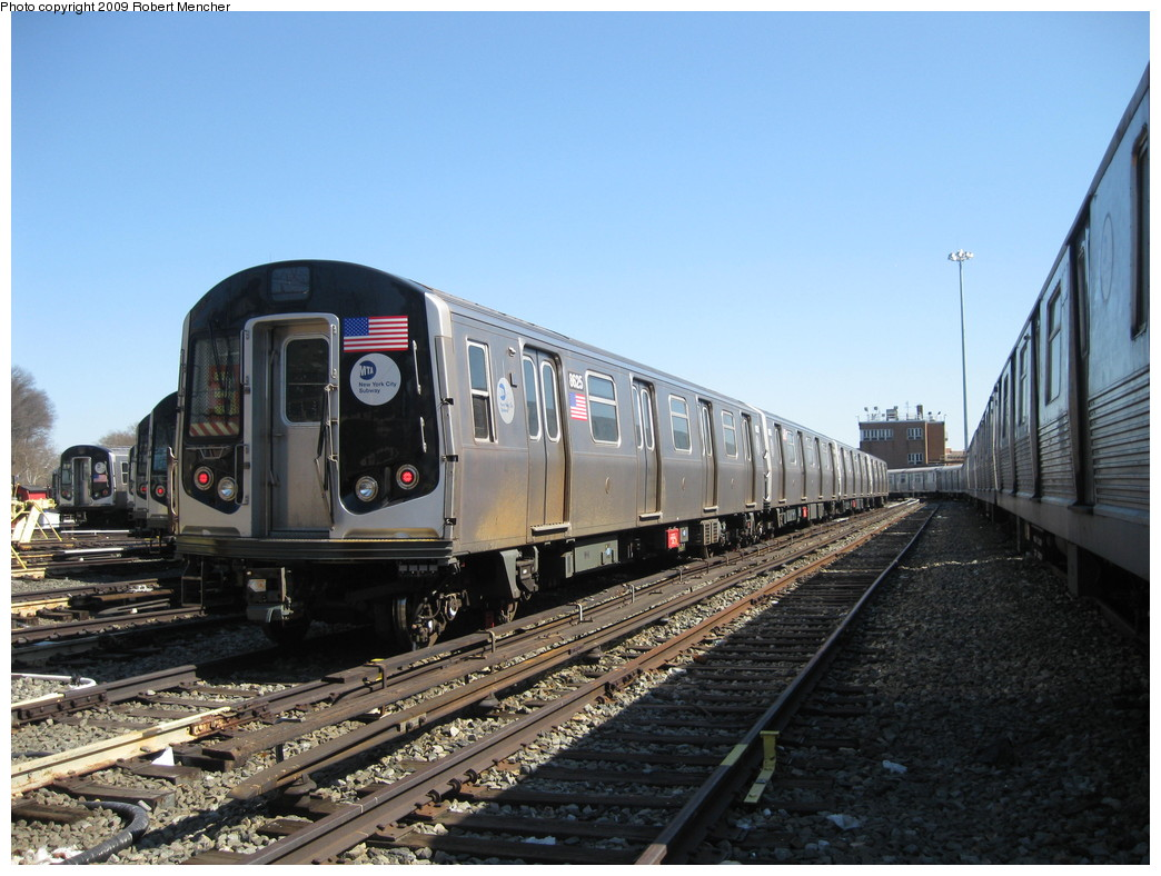 (221k, 1044x788)<br><b>Country:</b> United States<br><b>City:</b> New York<br><b>System:</b> New York City Transit<br><b>Location:</b> East New York Yard/Shops<br><b>Car:</b> R-160A-1 (Alstom, 2005-2008, 4 car sets)  8625 <br><b>Photo by:</b> Robert Mencher<br><b>Date:</b> 3/23/2009<br><b>Viewed (this week/total):</b> 0 / 542