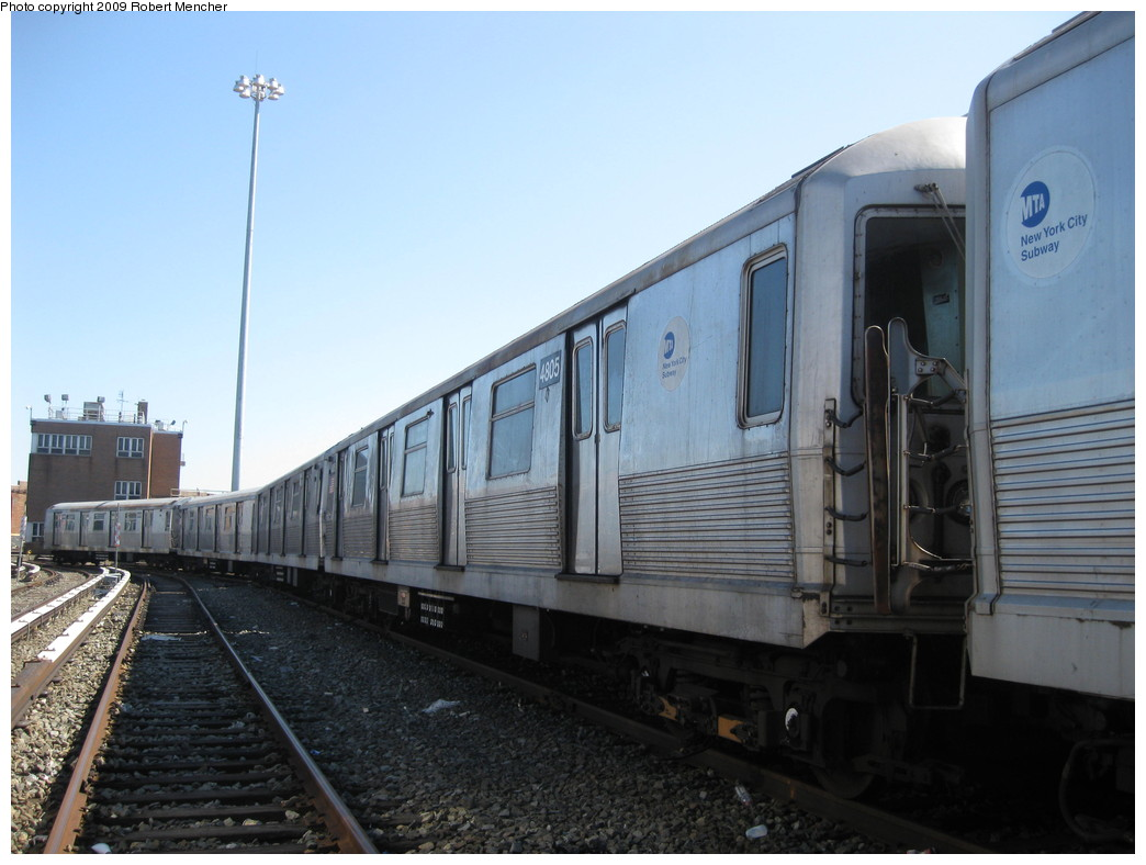 (183k, 1044x788)<br><b>Country:</b> United States<br><b>City:</b> New York<br><b>System:</b> New York City Transit<br><b>Location:</b> East New York Yard/Shops<br><b>Car:</b> R-42 (St. Louis, 1969-1970)  4805 <br><b>Photo by:</b> Robert Mencher<br><b>Date:</b> 3/23/2009<br><b>Viewed (this week/total):</b> 0 / 267