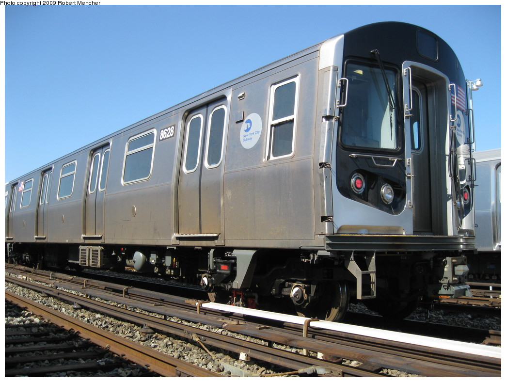 (224k, 1044x788)<br><b>Country:</b> United States<br><b>City:</b> New York<br><b>System:</b> New York City Transit<br><b>Location:</b> East New York Yard/Shops<br><b>Car:</b> R-160A-1 (Alstom, 2005-2008, 4 car sets)  8628 <br><b>Photo by:</b> Robert Mencher<br><b>Date:</b> 3/23/2009<br><b>Viewed (this week/total):</b> 2 / 560