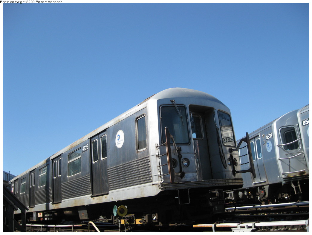 (165k, 1044x788)<br><b>Country:</b> United States<br><b>City:</b> New York<br><b>System:</b> New York City Transit<br><b>Location:</b> East New York Yard/Shops<br><b>Car:</b> R-42 (St. Louis, 1969-1970)  4826 <br><b>Photo by:</b> Robert Mencher<br><b>Date:</b> 3/23/2009<br><b>Viewed (this week/total):</b> 0 / 485