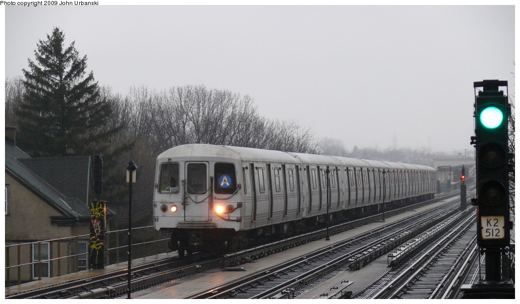 (205k, 1044x611)<br><b>Country:</b> United States<br><b>City:</b> New York<br><b>System:</b> New York City Transit<br><b>Line:</b> IND Fulton Street Line<br><b>Location:</b> 88th Street/Boyd Avenue <br><b>Route:</b> A<br><b>Car:</b> R-44 (St. Louis, 1971-73) 5390 <br><b>Photo by:</b> John Urbanski<br><b>Date:</b> 3/26/2009<br><b>Viewed (this week/total):</b> 3 / 949
