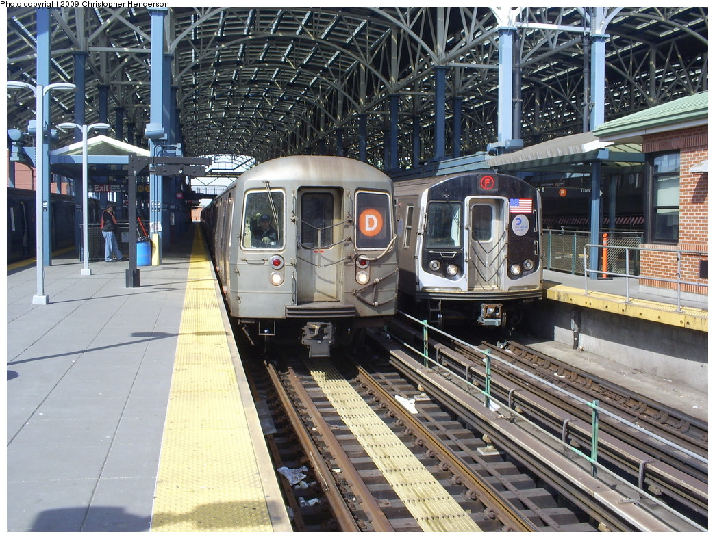(349k, 1044x788)<br><b>Country:</b> United States<br><b>City:</b> New York<br><b>System:</b> New York City Transit<br><b>Location:</b> Coney Island/Stillwell Avenue<br><b>Route:</b> D<br><b>Car:</b> R-68 (Westinghouse-Amrail, 1986-1988)  2774 <br><b>Photo by:</b> Christopher Henderson<br><b>Date:</b> 3/25/2009<br><b>Notes:</b> With R160A 9247 on F<br><b>Viewed (this week/total):</b> 0 / 1431