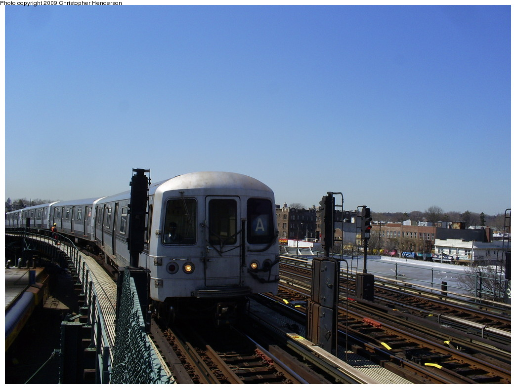 (233k, 1044x788)<br><b>Country:</b> United States<br><b>City:</b> New York<br><b>System:</b> New York City Transit<br><b>Line:</b> IND Fulton Street Line<br><b>Location:</b> 80th Street/Hudson Street <br><b>Route:</b> A<br><b>Car:</b> R-44 (St. Louis, 1971-73) 5380 <br><b>Photo by:</b> Christopher Henderson<br><b>Date:</b> 3/30/2009<br><b>Viewed (this week/total):</b> 4 / 471