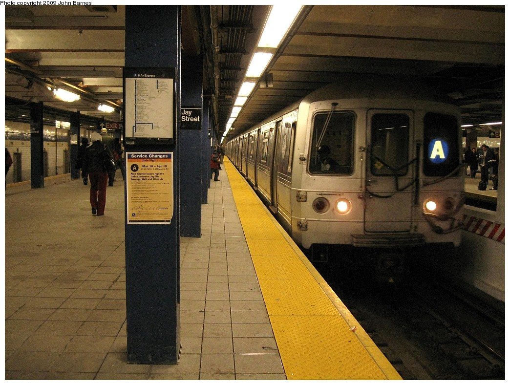 (254k, 1044x788)<br><b>Country:</b> United States<br><b>City:</b> New York<br><b>System:</b> New York City Transit<br><b>Line:</b> IND 8th Avenue Line<br><b>Location:</b> Jay St./Metrotech (Borough Hall) <br><b>Route:</b> A<br><b>Car:</b> R-44 (St. Louis, 1971-73) 5368 <br><b>Photo by:</b> John Barnes<br><b>Date:</b> 3/31/2009<br><b>Viewed (this week/total):</b> 3 / 1136