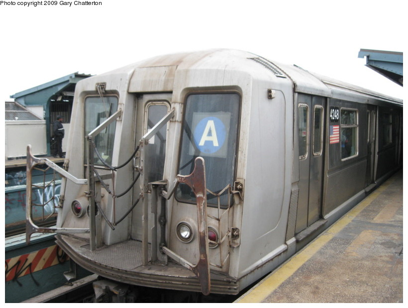 (113k, 820x620)<br><b>Country:</b> United States<br><b>City:</b> New York<br><b>System:</b> New York City Transit<br><b>Line:</b> IND Fulton Street Line<br><b>Location:</b> 80th Street/Hudson Street <br><b>Route:</b> A<br><b>Car:</b> R-40 (St. Louis, 1968)  4248 <br><b>Photo by:</b> Gary Chatterton<br><b>Date:</b> 4/1/2009<br><b>Viewed (this week/total):</b> 1 / 691