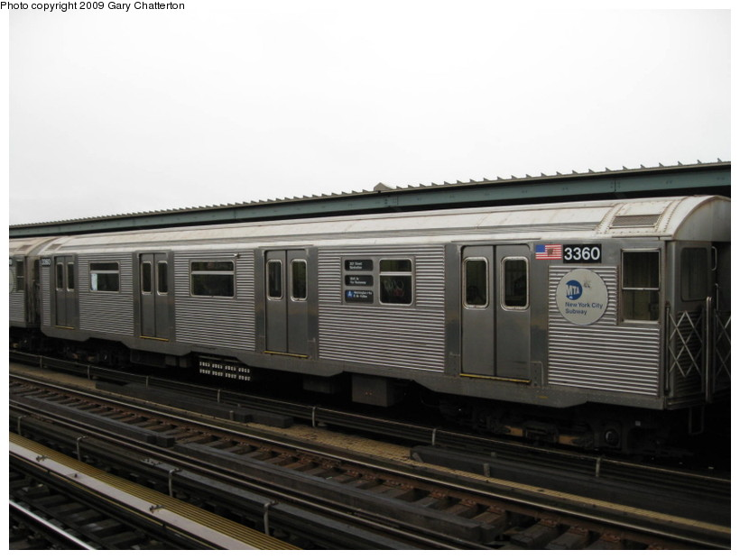 (103k, 820x620)<br><b>Country:</b> United States<br><b>City:</b> New York<br><b>System:</b> New York City Transit<br><b>Line:</b> IND Fulton Street Line<br><b>Location:</b> Rockaway Boulevard <br><b>Route:</b> A<br><b>Car:</b> R-32 (Budd, 1964)  3360 <br><b>Photo by:</b> Gary Chatterton<br><b>Date:</b> 4/1/2009<br><b>Viewed (this week/total):</b> 0 / 1056