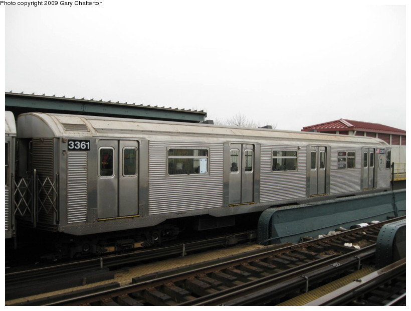 (101k, 820x620)<br><b>Country:</b> United States<br><b>City:</b> New York<br><b>System:</b> New York City Transit<br><b>Line:</b> IND Fulton Street Line<br><b>Location:</b> Rockaway Boulevard <br><b>Route:</b> A<br><b>Car:</b> R-32 (Budd, 1964)  3361 <br><b>Photo by:</b> Gary Chatterton<br><b>Date:</b> 4/1/2009<br><b>Viewed (this week/total):</b> 0 / 470