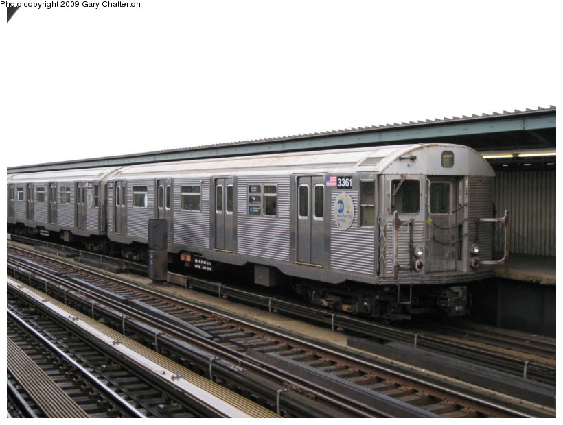 (119k, 820x620)<br><b>Country:</b> United States<br><b>City:</b> New York<br><b>System:</b> New York City Transit<br><b>Line:</b> IND Fulton Street Line<br><b>Location:</b> Rockaway Boulevard <br><b>Route:</b> A<br><b>Car:</b> R-32 (Budd, 1964)  3361 <br><b>Photo by:</b> Gary Chatterton<br><b>Date:</b> 4/1/2009<br><b>Viewed (this week/total):</b> 2 / 922