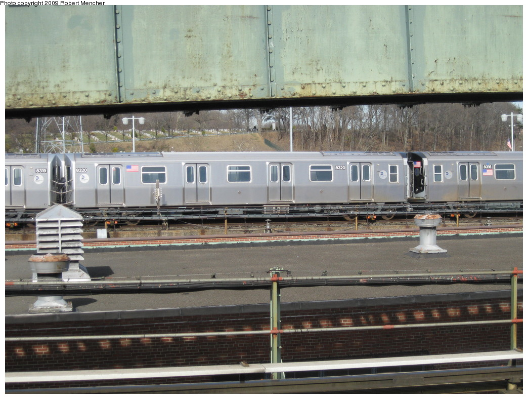 (247k, 1044x788)<br><b>Country:</b> United States<br><b>City:</b> New York<br><b>System:</b> New York City Transit<br><b>Location:</b> East New York Yard/Shops<br><b>Car:</b> R-160A-1 (Alstom, 2005-2008, 4 car sets)  8320 <br><b>Photo by:</b> Robert Mencher<br><b>Date:</b> 3/25/2009<br><b>Viewed (this week/total):</b> 0 / 637