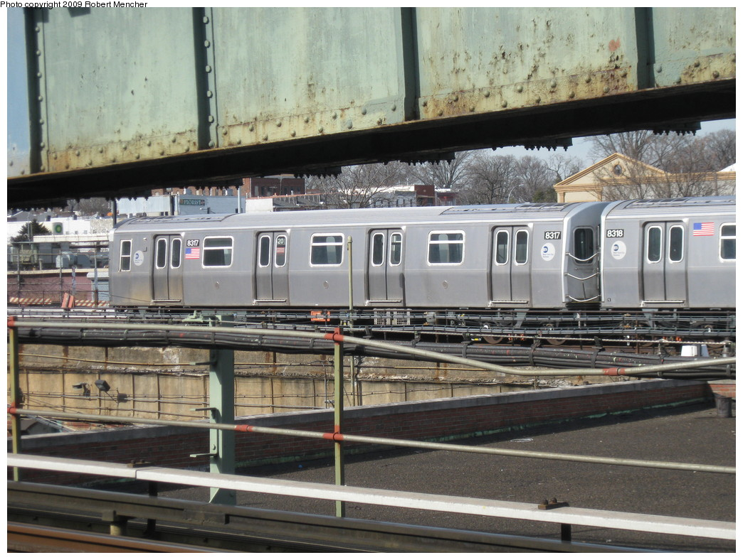 (254k, 1044x788)<br><b>Country:</b> United States<br><b>City:</b> New York<br><b>System:</b> New York City Transit<br><b>Location:</b> East New York Yard/Shops<br><b>Car:</b> R-160A-1 (Alstom, 2005-2008, 4 car sets)  8317 <br><b>Photo by:</b> Robert Mencher<br><b>Date:</b> 3/25/2009<br><b>Viewed (this week/total):</b> 0 / 796