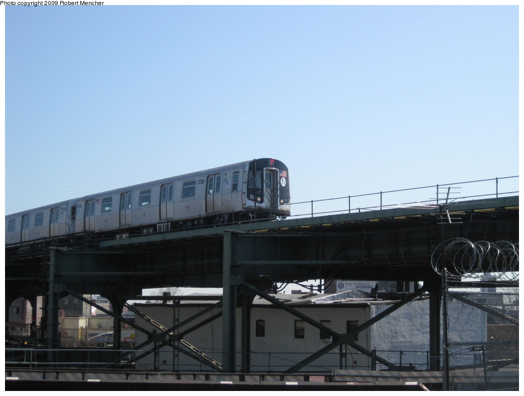 (145k, 1044x788)<br><b>Country:</b> United States<br><b>City:</b> New York<br><b>System:</b> New York City Transit<br><b>Line:</b> BMT Nassau Street/Jamaica Line<br><b>Location:</b> Broadway/East New York (Broadway Junction) <br><b>Car:</b> R-160A-1 (Alstom, 2005-2008, 4 car sets)  8457 <br><b>Photo by:</b> Robert Mencher<br><b>Date:</b> 3/31/2009<br><b>Viewed (this week/total):</b> 0 / 756