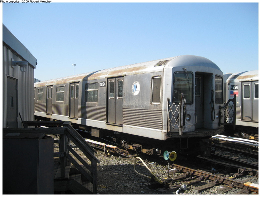 (192k, 1044x788)<br><b>Country:</b> United States<br><b>City:</b> New York<br><b>System:</b> New York City Transit<br><b>Location:</b> East New York Yard/Shops<br><b>Car:</b> R-42 (St. Louis, 1969-1970)  4834 <br><b>Photo by:</b> Robert Mencher<br><b>Date:</b> 3/31/2009<br><b>Viewed (this week/total):</b> 0 / 587