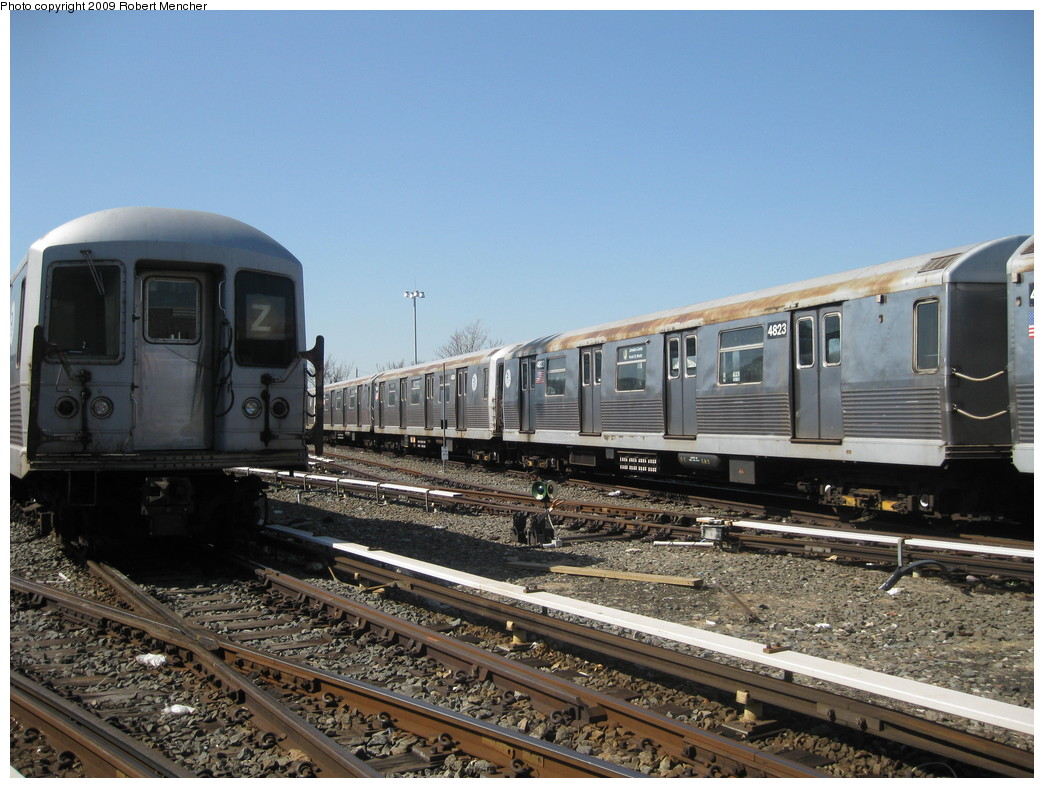 (234k, 1044x788)<br><b>Country:</b> United States<br><b>City:</b> New York<br><b>System:</b> New York City Transit<br><b>Location:</b> East New York Yard/Shops<br><b>Car:</b> R-42 (St. Louis, 1969-1970)  4823 <br><b>Photo by:</b> Robert Mencher<br><b>Date:</b> 3/31/2009<br><b>Viewed (this week/total):</b> 0 / 447