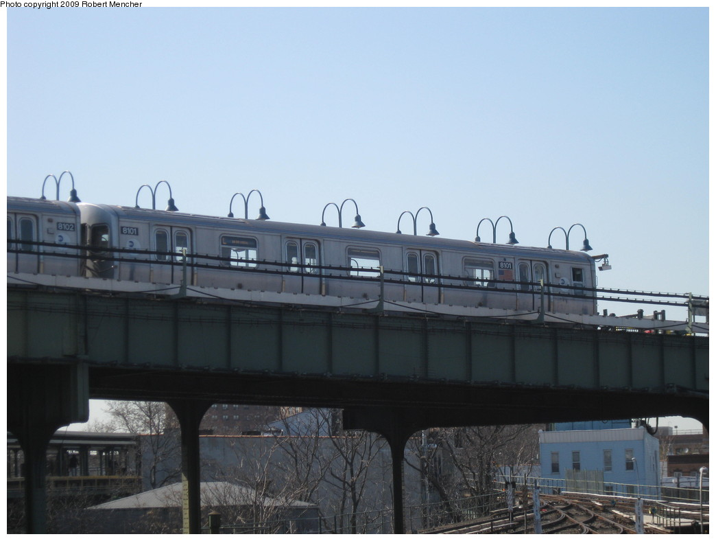 (152k, 1044x788)<br><b>Country:</b> United States<br><b>City:</b> New York<br><b>System:</b> New York City Transit<br><b>Line:</b> BMT Canarsie Line<br><b>Location:</b> Broadway Junction <br><b>Car:</b> R-143 (Kawasaki, 2001-2002) 8101 <br><b>Photo by:</b> Robert Mencher<br><b>Date:</b> 3/31/2009<br><b>Viewed (this week/total):</b> 0 / 989