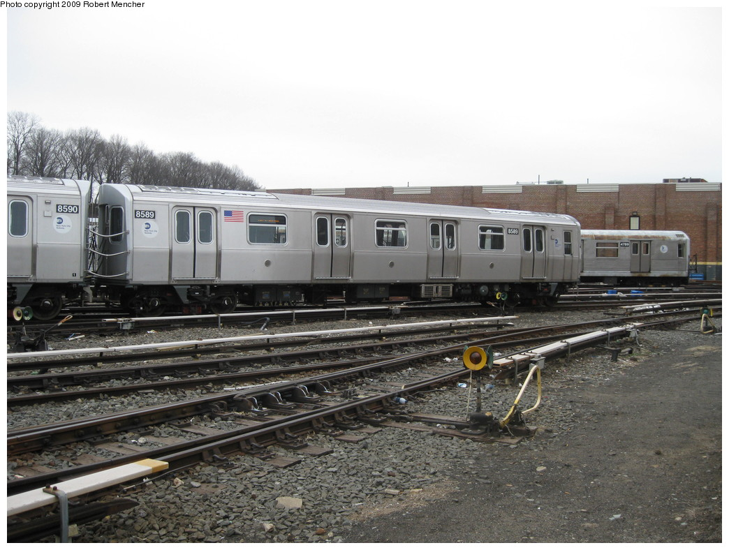(226k, 1044x788)<br><b>Country:</b> United States<br><b>City:</b> New York<br><b>System:</b> New York City Transit<br><b>Location:</b> East New York Yard/Shops<br><b>Car:</b> R-160A-1 (Alstom, 2005-2008, 4 car sets)  8589 <br><b>Photo by:</b> Robert Mencher<br><b>Date:</b> 4/1/2009<br><b>Viewed (this week/total):</b> 3 / 463
