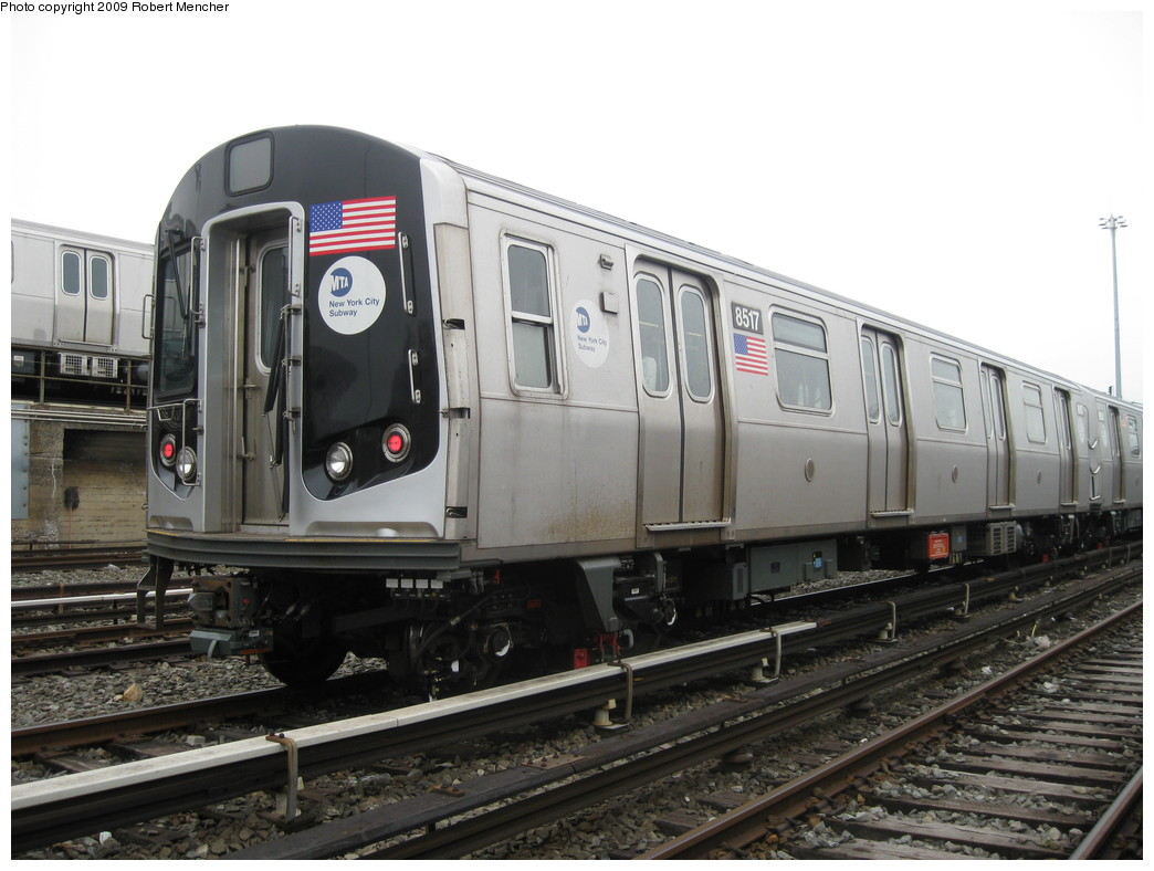 (193k, 1044x788)<br><b>Country:</b> United States<br><b>City:</b> New York<br><b>System:</b> New York City Transit<br><b>Location:</b> East New York Yard/Shops<br><b>Car:</b> R-160A-1 (Alstom, 2005-2008, 4 car sets)  8517 <br><b>Photo by:</b> Robert Mencher<br><b>Date:</b> 4/1/2009<br><b>Viewed (this week/total):</b> 0 / 569