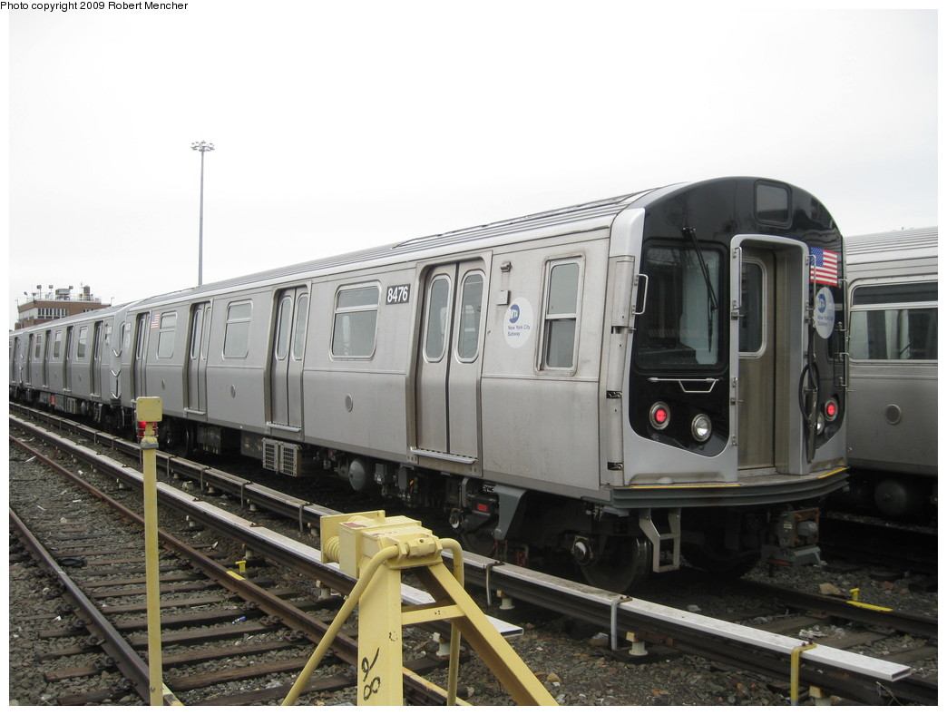 (187k, 1044x788)<br><b>Country:</b> United States<br><b>City:</b> New York<br><b>System:</b> New York City Transit<br><b>Location:</b> East New York Yard/Shops<br><b>Car:</b> R-160A-1 (Alstom, 2005-2008, 4 car sets)  8476 <br><b>Photo by:</b> Robert Mencher<br><b>Date:</b> 4/1/2009<br><b>Viewed (this week/total):</b> 1 / 506
