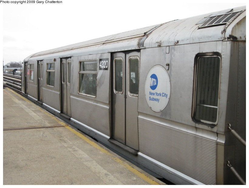 (114k, 820x620)<br><b>Country:</b> United States<br><b>City:</b> New York<br><b>System:</b> New York City Transit<br><b>Line:</b> IND Fulton Street Line<br><b>Location:</b> 104th Street/Oxford Ave. <br><b>Route:</b> A<br><b>Car:</b> R-40 (St. Louis, 1968)  4320 <br><b>Photo by:</b> Gary Chatterton<br><b>Date:</b> 4/1/2009<br><b>Viewed (this week/total):</b> 1 / 881