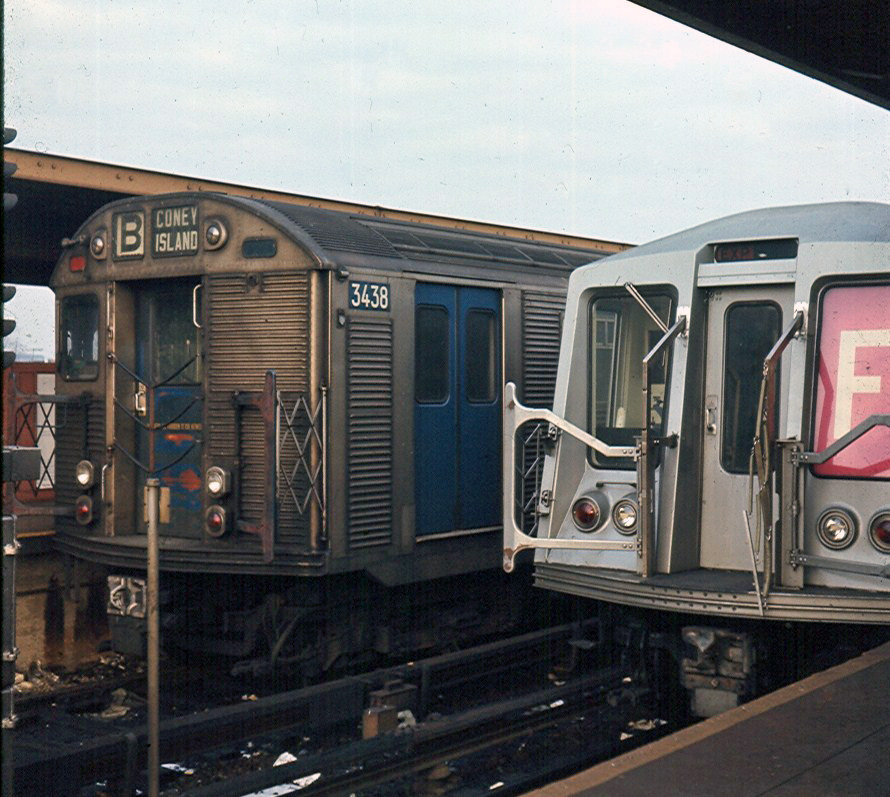 (263k, 890x797)<br><b>Country:</b> United States<br><b>City:</b> New York<br><b>System:</b> New York City Transit<br><b>Location:</b> Coney Island/Stillwell Avenue<br><b>Route:</b> B<br><b>Car:</b> R-32 (Budd, 1964)  3438 <br><b>Photo by:</b> Brian J. Cudahy<br><b>Notes:</b> Approx 1970<br><b>Viewed (this week/total):</b> 1 / 1204