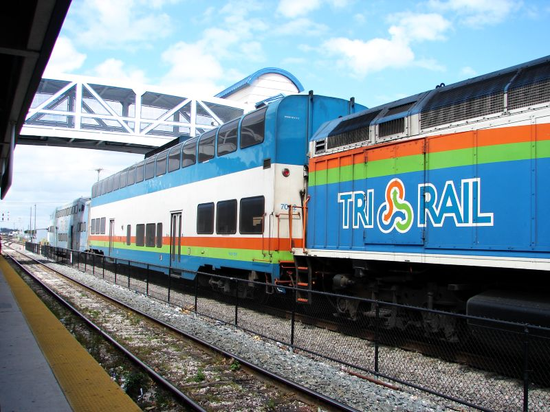 (109k, 800x600)<br><b>Country:</b> United States<br><b>City:</b> Miami, FL<br><b>System:</b> Miami Tri-Rail<br><b>Location:</b> Metrorail Transfer (Metrorail, Amtrak) <br><b>Photo by:</b> Bob Vogel<br><b>Date:</b> 3/6/2009<br><b>Notes:</b> Colorado Railcar TRCX 7002<br><b>Viewed (this week/total):</b> 1 / 408