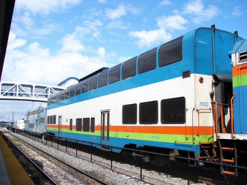 (91k, 800x600)<br><b>Country:</b> United States<br><b>City:</b> Miami, FL<br><b>System:</b> Miami Tri-Rail<br><b>Location:</b> Metrorail Transfer (Metrorail, Amtrak) <br><b>Photo by:</b> Bob Vogel<br><b>Date:</b> 3/6/2009<br><b>Notes:</b> Colorado Railcar TRCX 7002<br><b>Viewed (this week/total):</b> 5 / 1192
