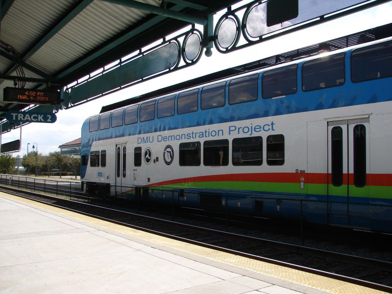 (86k, 800x600)<br><b>Country:</b> United States<br><b>City:</b> Miami, FL<br><b>System:</b> Miami Tri-Rail<br><b>Location:</b> Deerfield Beach (Amtrak) <br><b>Photo by:</b> Bob Vogel<br><b>Date:</b> 3/6/2009<br><b>Notes:</b> Colorado Railcar DMU on train P629<br><b>Viewed (this week/total):</b> 3 / 816
