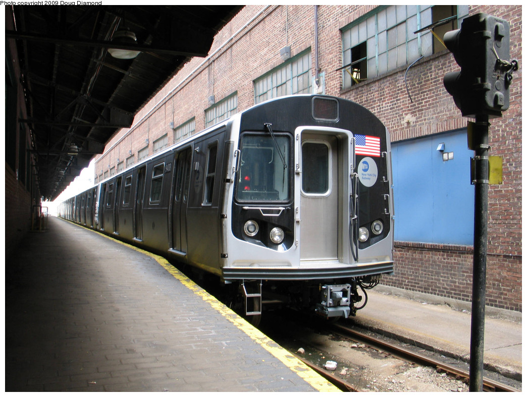 (271k, 1044x788)<br><b>Country:</b> United States<br><b>City:</b> New York<br><b>System:</b> New York City Transit<br><b>Location:</b> 207th Street Yard<br><b>Car:</b> R-160A (Option 1) (Alstom, 2008-2009, 5 car sets)  9408 <br><b>Photo by:</b> Doug Diamond<br><b>Date:</b> 4/7/2009<br><b>Viewed (this week/total):</b> 2 / 1037