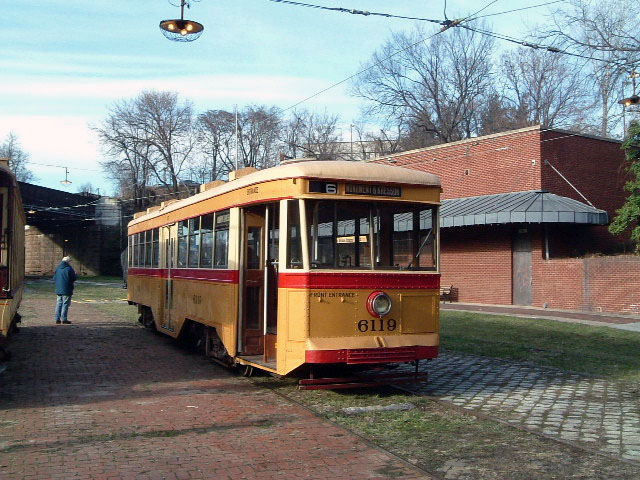 (131k, 640x480)<br><b>Country:</b> United States<br><b>City:</b> Baltimore, MD<br><b>System:</b> Baltimore Streetcar Museum <br><b>Car:</b>  6119 <br><b>Photo by:</b> Brian J. Cudahy<br><b>Date:</b> 1/15/2004<br><b>Viewed (this week/total):</b> 4 / 602