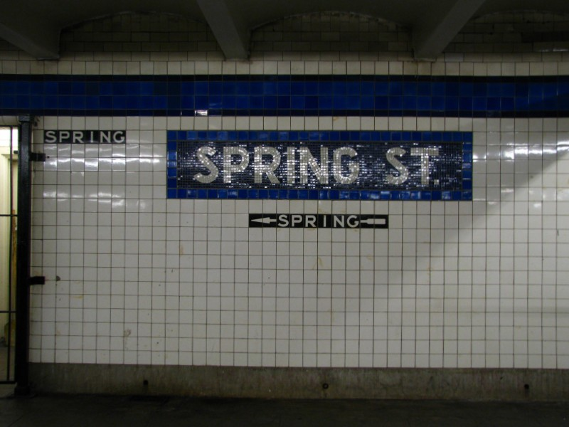 (100k, 800x600)<br><b>Country:</b> United States<br><b>City:</b> New York<br><b>System:</b> New York City Transit<br><b>Line:</b> IND 8th Avenue Line<br><b>Location:</b> Spring Street <br><b>Photo by:</b> Bill E.<br><b>Date:</b> 4/9/2009<br><b>Viewed (this week/total):</b> 0 / 1001