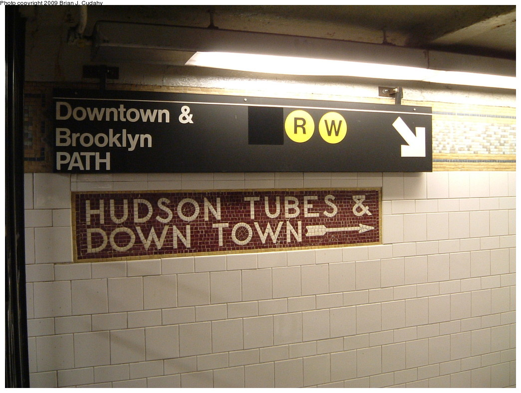 (202k, 1044x788)<br><b>Country:</b> United States<br><b>City:</b> New York<br><b>System:</b> New York City Transit<br><b>Line:</b> BMT Broadway Line<br><b>Location:</b> Cortlandt Street-World Trade Center <br><b>Photo by:</b> Brian J. Cudahy<br><b>Date:</b> 7/24/2004<br><b>Notes:</b> Hudson Tubes sign.<br><b>Viewed (this week/total):</b> 0 / 905