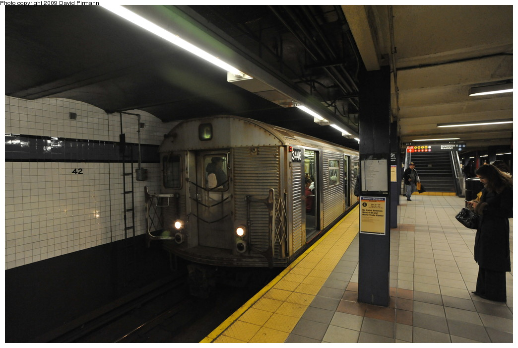 (222k, 1044x701)<br><b>Country:</b> United States<br><b>City:</b> New York<br><b>System:</b> New York City Transit<br><b>Line:</b> IND 8th Avenue Line<br><b>Location:</b> 42nd Street/Port Authority Bus Terminal <br><b>Route:</b> C<br><b>Car:</b> R-32 (Budd, 1964)  3446 <br><b>Photo by:</b> David Pirmann<br><b>Date:</b> 4/10/2009<br><b>Viewed (this week/total):</b> 1 / 1813
