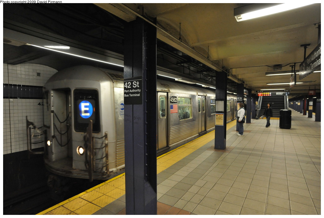 (228k, 1044x701)<br><b>Country:</b> United States<br><b>City:</b> New York<br><b>System:</b> New York City Transit<br><b>Line:</b> IND 8th Avenue Line<br><b>Location:</b> 42nd Street/Port Authority Bus Terminal <br><b>Route:</b> E<br><b>Car:</b> R-42 (St. Louis, 1969-1970)  4562 <br><b>Photo by:</b> David Pirmann<br><b>Date:</b> 4/10/2009<br><b>Viewed (this week/total):</b> 0 / 1518