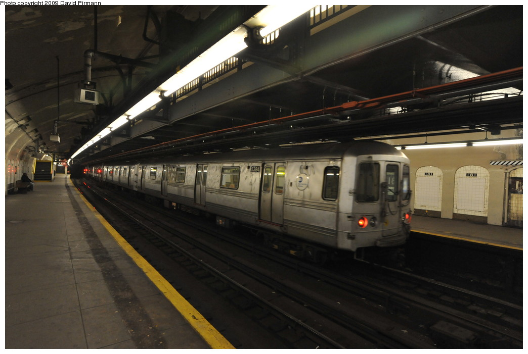 (216k, 1044x701)<br><b>Country:</b> United States<br><b>City:</b> New York<br><b>System:</b> New York City Transit<br><b>Line:</b> IND 8th Avenue Line<br><b>Location:</b> 181st Street <br><b>Route:</b> A<br><b>Car:</b> R-44 (St. Louis, 1971-73) 5384 <br><b>Photo by:</b> David Pirmann<br><b>Date:</b> 4/10/2009<br><b>Viewed (this week/total):</b> 2 / 1137