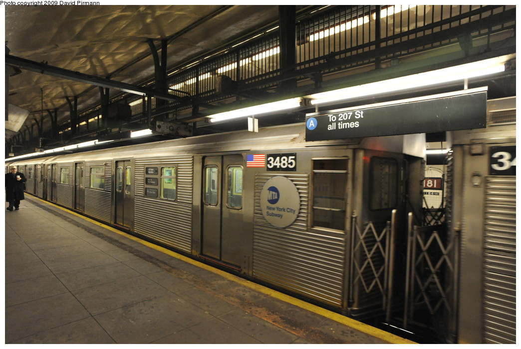(267k, 1044x701)<br><b>Country:</b> United States<br><b>City:</b> New York<br><b>System:</b> New York City Transit<br><b>Line:</b> IND 8th Avenue Line<br><b>Location:</b> 181st Street <br><b>Route:</b> A<br><b>Car:</b> R-32 (Budd, 1964)  3485 <br><b>Photo by:</b> David Pirmann<br><b>Date:</b> 4/10/2009<br><b>Viewed (this week/total):</b> 1 / 540