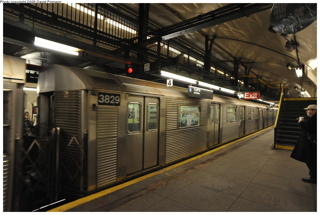 (258k, 1044x701)<br><b>Country:</b> United States<br><b>City:</b> New York<br><b>System:</b> New York City Transit<br><b>Line:</b> IND 8th Avenue Line<br><b>Location:</b> 181st Street <br><b>Route:</b> A<br><b>Car:</b> R-32 (Budd, 1964)  3829 <br><b>Photo by:</b> David Pirmann<br><b>Date:</b> 4/10/2009<br><b>Viewed (this week/total):</b> 3 / 730