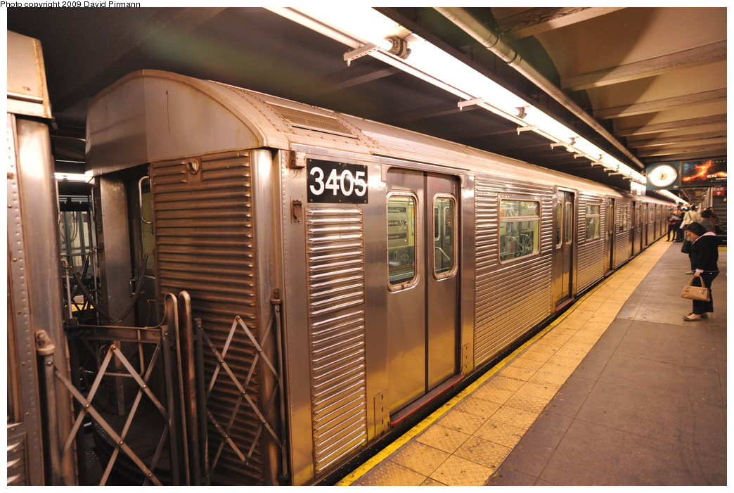 (288k, 1044x701)<br><b>Country:</b> United States<br><b>City:</b> New York<br><b>System:</b> New York City Transit<br><b>Line:</b> IND 8th Avenue Line<br><b>Location:</b> 168th Street <br><b>Route:</b> C<br><b>Car:</b> R-32 (Budd, 1964)  3405 <br><b>Photo by:</b> David Pirmann<br><b>Date:</b> 4/10/2009<br><b>Viewed (this week/total):</b> 1 / 1164