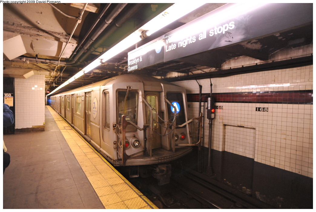 (250k, 1044x701)<br><b>Country:</b> United States<br><b>City:</b> New York<br><b>System:</b> New York City Transit<br><b>Line:</b> IND 8th Avenue Line<br><b>Location:</b> 168th Street <br><b>Route:</b> A<br><b>Car:</b> R-40 (St. Louis, 1968)  4365 <br><b>Photo by:</b> David Pirmann<br><b>Date:</b> 4/10/2009<br><b>Viewed (this week/total):</b> 1 / 480