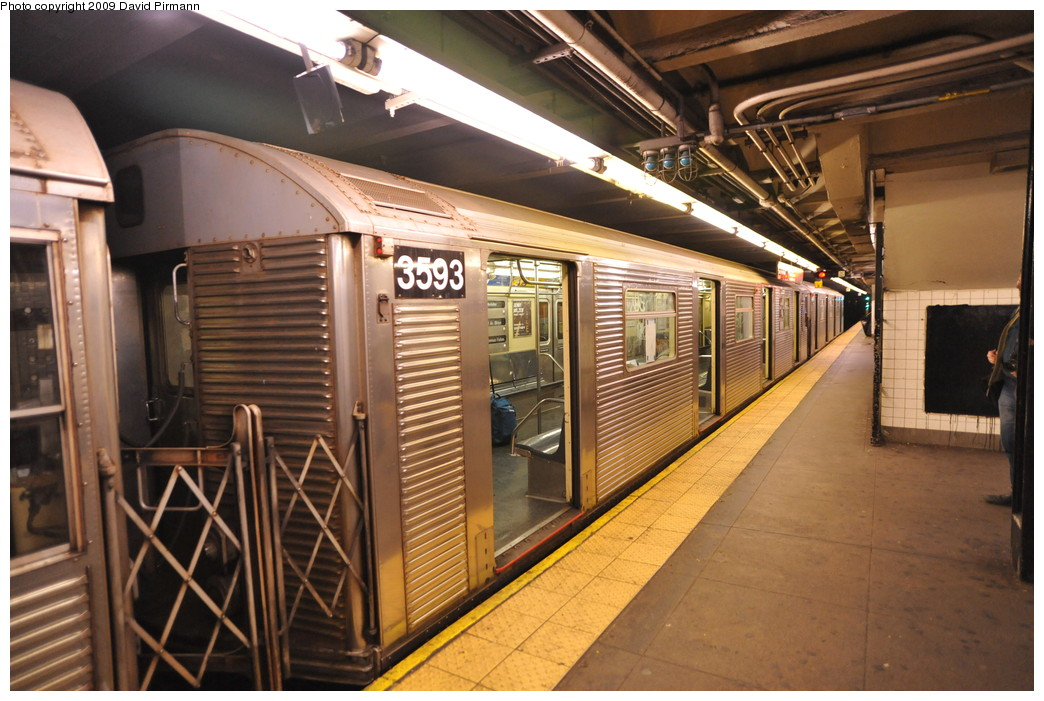 (276k, 1044x701)<br><b>Country:</b> United States<br><b>City:</b> New York<br><b>System:</b> New York City Transit<br><b>Line:</b> IND 8th Avenue Line<br><b>Location:</b> 168th Street <br><b>Route:</b> C<br><b>Car:</b> R-32 (Budd, 1964)  3593 <br><b>Photo by:</b> David Pirmann<br><b>Date:</b> 4/10/2009<br><b>Viewed (this week/total):</b> 1 / 414