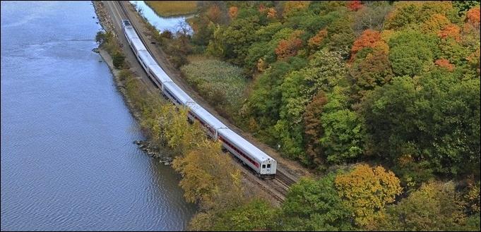 Metro North Train Along Hudson