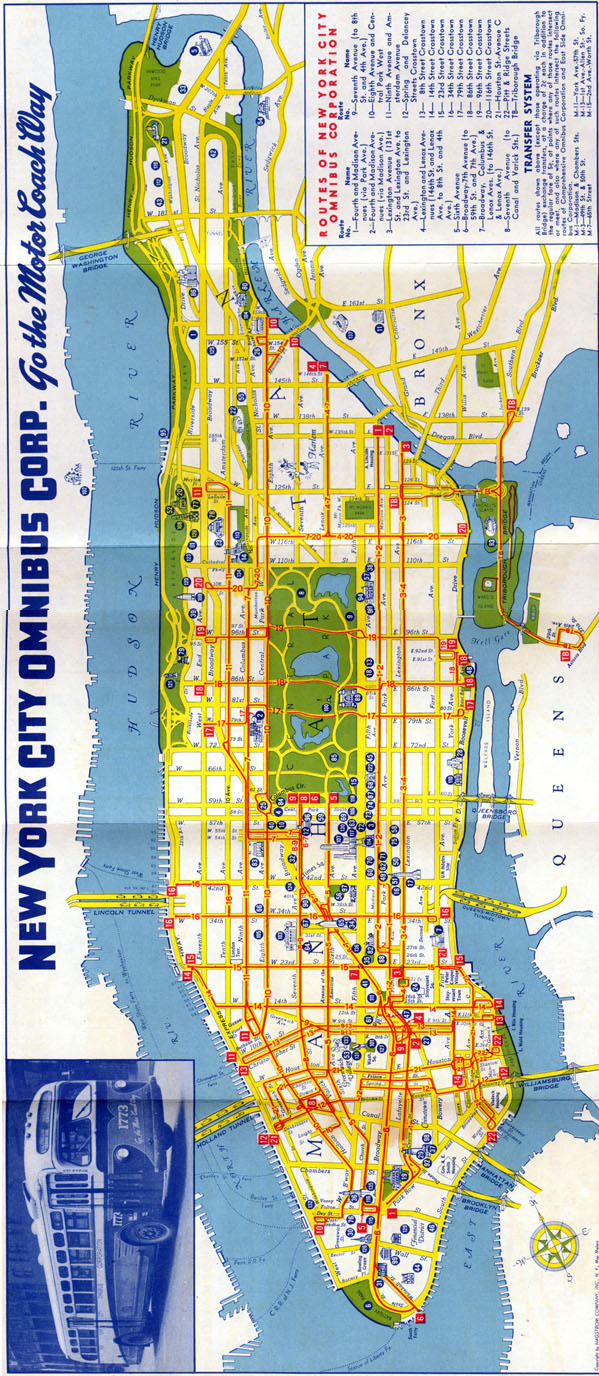 New York City Omnibus Co. bus map (late 1940s-early 1950s ... Ny City Bus Map on manhattan bus map, m5 bus route map, brooklyn bus map, nyc map, m20 bus map, flushing meadows map, ny bus route map, transit map, new york mta bus map, ny city subway, new york city transportation map, twin cities bus map, staten island bus map, new york city train map, queens bus map, ny express bus map, new york bus route map, bronx bus map,