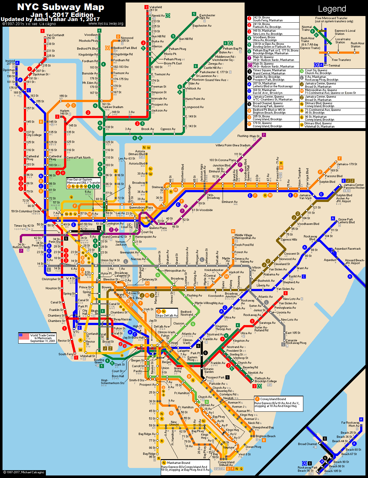 nycsubwayorg New York City Subway Route Map by Michael Calcagno – New York City Tourist Map PDF